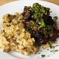 Cabernet Braised Short Ribs with Mushroom Risotto