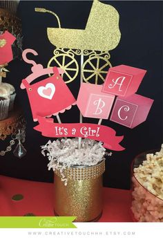 Coral, navy, and gold baby shower party centerpiece! See more party ideas at CatchMyParty.com!