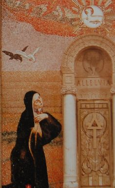 St. Teresa of Jesus St.Teresa of Jesus (1515-1582), the foundress of the reformed Carmel (Discalced Carmelites) is portrayed on the mosaic in Adoration of the Eucharist. In her spiritual writings one finds frequent images of fire and water. The Carmelites celebrate her memory on October 15.