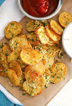 """Parmesan Roasted Potatoes. She says, """"serve with ketchup or ranch"""" but no, my friend, it's BBQ sauce you want. Like at Cask & Cleaver. Trust me."""