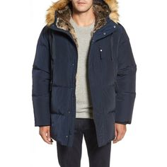 Men's Marc New York Quilted Down Parka With Faux Fur Trim ($295) ❤ liked on Polyvore featuring men's fashion, men's clothing, men's outerwear, men's coats, ink, mens quilted coat, mens hooded parka, mens parka, mens down filled coats and mens coats