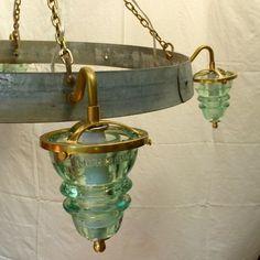Insulator Light Wine Barrel Hoop Chandelier - rustic - Chandeliers - Railroadware