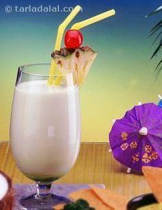 A delicious tropical mocktail made with fresh coconut milk and pineapple juice blended with oodles of vanilla ice cream. A sweet and creamy mocktail.