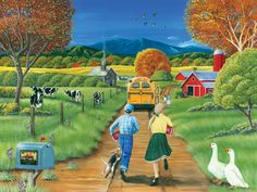 Not the best start to the school year when you miss the bus on the first day of school in this 1000 piece puzzle from Cobble Hill. Back To School Art, I Love School, First Day Of School, Art School, School Daze, School Times, School Memories, 5d Diamond Painting, Naive Art