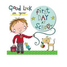 Good luck on your first day at school greeting card by rachel ellen first day at school school boy boy cards good luck gifts for kids one day inspire me stationary presents for kids childrens gifts best of luck m4hsunfo