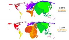 World population cartogram, 1800 and 2100 #World