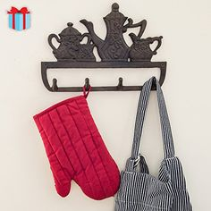 Decorative Cast Iron Kitchen Storage Towel Rack Old Fashioned Tea Pot With 4 Hooks Wall Mounted Towel Hanger 118 x 79 With Screws And Anchors By Comfify ** Details can be found by clicking on the image. Towel Hanger, Towel Hooks, Kitchen Towels, Kitchen Storage, Gardening Apron, Clothes Hanger, Cast Iron, Wall Mount, Tea Pots