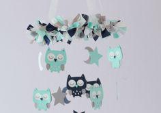 blue and grey owl nursery   Owl Nursery Mobile In Aqua, Navy Blue, Gray & White on Luulla
