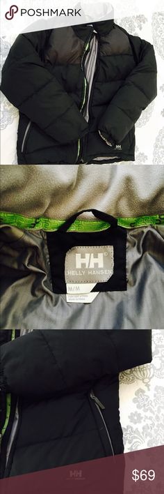 Helly Hansen Women's Goose Down Jacket! Size medium. Black poly shell, double lined 100% down jacket. Awesome winter coat, very well cared for. Hip-length. Has a pocket inside to keep belongings dry, and (2) zippered pockets on the outside. Short collar and banded sleeves to keep the elements out. Helly Hansen Jackets & Coats Puffers