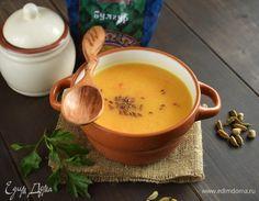 Морковный суп с булгуром. Ингредиенты: овощной бульон, морковь, лук репчатый