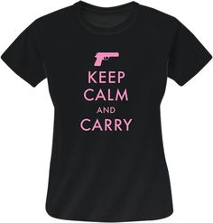 Share PatriotDepot and get a coupon for $5 off your order of $25 or more! Keep Calm and Carry Shirt (pink on black) #patriotdepot