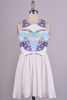 Firebird Southwest Print Dress - White - $58.00   Daily Chic Dresses   International Shipping