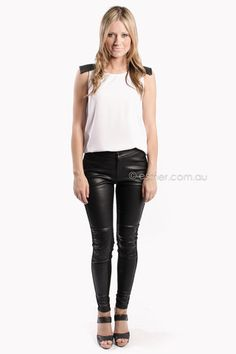 run faster leather look pants - black