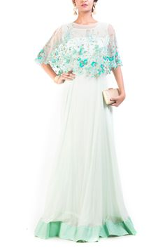 Embroidered Aqua Green Georgette & net Gown With Cape by Anju Agarwal, Indowestern Gowns Indian Wedding Gowns, Wedding Gowns Online, Indian Gowns, Indian Wear, Indian Designer Outfits, Designer Gowns, Indian Outfits, Evening Gowns With Sleeves, Evening Dresses
