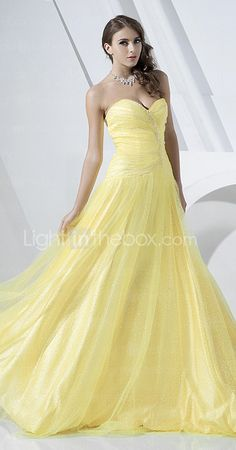 A-line Strapless Floor-length Tulle And Satin Evening Dress usually don't like yellow, but beautiful
