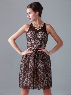 Two-tone Effect Short Lace Dress; Color: Burgundy; Color: Ivory; Sizes Available: 2-26W, Custom Size; Fabric: Lace, Satin