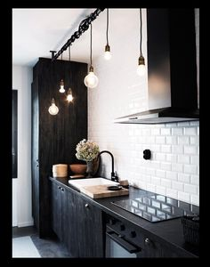 Bare Bulb Black Kitchen Pendants