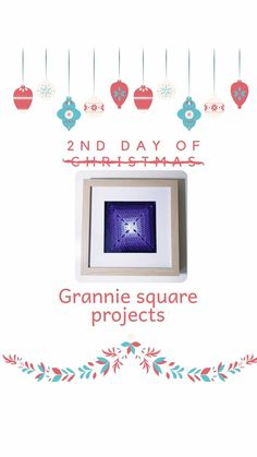 """Seona - Hooked on Crochet Club on Instagram: """"Day 2 of 12 days of Grannie Square Projects! A framed grannie square... This one is made with a solid grannie square in ombre design and…"""" D Day, Crochet Hooks, Club, Frame, Projects, Instagram, Design, Home Decor, Crochet"""