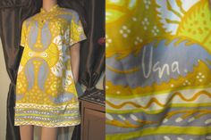 Vtg 60s Signed VERA Neumann GoGo Mod Psychedelic Mini Dress S #VeraNeumann #Shift #Casual