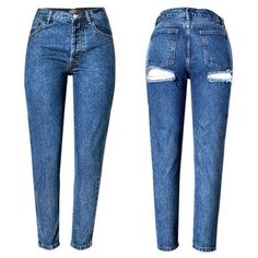 Tayen Ripped Back Tapered Jeans ($30) ❤ liked on Polyvore featuring jeans, destruction jeans, torn jeans, distressing jeans, destroyed jeans and ripped jeans
