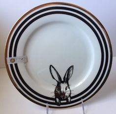 Ciroa Easter Bunny Dinner Plates Black White Gold New Rabbit Dishes Dish 6 Avail & Maxcera dinner plate blue white toile bunny rabbit 10