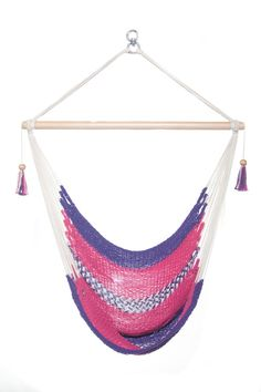 Hanging Chair Sitting Hammock Pink and Purple Porch Swing Organic Cotton Indoor/Outdoor 100% Handmade Mission Hammocks