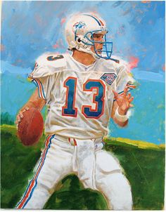 Dan Marino, Dolphins-painting done for Upper Deck trading cards by Cliff Spohn. American Football League, American Sports, National Football League, Nfl Football Players, Football Art, Football Helmets, Sports Art, Sports Teams, Around The Nfl