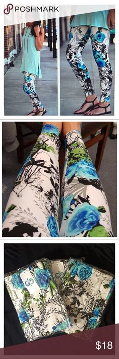 🐬 Floral Print Brush Knit Leggings-Size OS NWT🐬 🎅 START X-MAS SHOPPING🎅🎁 Floral Print Turquoise & Black Brush Knit Leggings🐬 So yummy‼️ Super soft & comfy🐬 Size OS- Fits Sizes 0-12 comfortably🐬 NWT🐬 Infinity Raine Pants Leggings