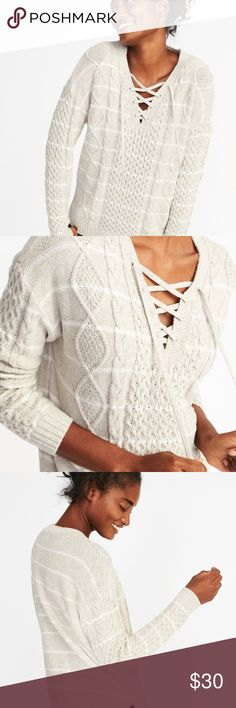 Cable Knit Lace Up Sweater New With Tags Old Navy Sweaters V-Necks