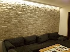 stone wall with LED lights