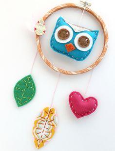 Felt Owl Dreamcatcher Wall Hanging Feathers, via Flickr.