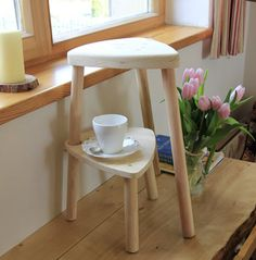 Small Bed Side Table small wood stool - low bedside table - wooden round side table