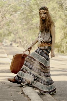 ☮ American Hippie Bohemian Boho Style ~ Maxi Skirt
