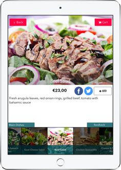 Four reasons why tablet menus can help hospitality sell more products and save money? Beef Salad, Chicken Salad, Spinach Salad, Avocado Salad, Digital Menu, Gorgonzola Cheese, Grilled Beef, 300 Calories, Cafe Restaurant