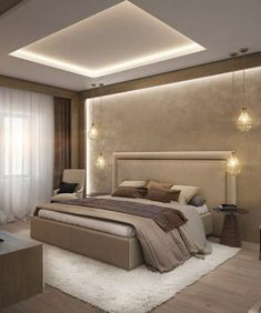 Unordinary Ceiling Design Ideas For Your Bedroom – Schlafzimmer Ideen House Ceiling Design, Ceiling Design Living Room, Bedroom False Ceiling Design, Master Bedroom Interior, Modern Master Bedroom, Modern Ceiling Design, Ceiling Light Design, Lighting Design, Luxury Lighting
