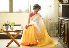 Silk Cotton Sarees - Handloom With Jute- White Snow And Yellow Sun By SuTa PC 20811 - 1