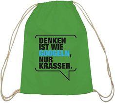 Shirtstreet24, Denken ist krasser, Baumwoll natur Turnbeutel Rucksack Sport Beutel - http://herrentaschenkaufen.de/shirtstreet24/shirtstreet24-denken-ist-krasser-baumwoll-natur