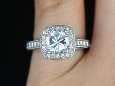 Daria 14kt White Gold  Round FB Moissanite and Diamonds Engraved Cushion Halo Engagement Ring (Other Metals and Stone Options Available)