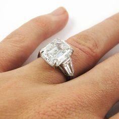 Harry Winston 6.36 Carat GIA Certified Emerald Cut Diamond Platinum... (€275.675) ❤ liked on Polyvore featuring jewelry, rings, platinum jewellery, diamond rings, platinum diamond rings, harry winston and diamond jewelry