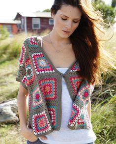 Crochet Granny Square Shrug Love New Ideas Crochet Coat, Crochet Jacket, Crochet Cardigan, Love Crochet, Crochet Shawl, Crochet Clothes, Crochet Sweaters, Crochet Afghans, Crochet Squares