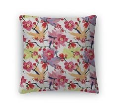 Gear New Throw Pillow, 14x14, Cherry Blossom Sakura Flowers  Cherry blossom décor is a great way to life, beauty and peace to your home.  You can find all kinds of cherry blossom decorating ideas by looking at cherry blossom wall art, cherry blossom accent pillows and other cherry blossom decorative accents.  Effortlessly use this type of décor in your bedroom, living room and bathroom and perhaps gain some inspiration from it to spruce up areas of your home.