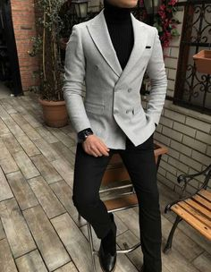 Terziademaltun – Italian style mens slim fit velvet cachet blazer gray single … – nasir – Join in the world of pin Blazer Outfits Men, Mens Fashion Blazer, Stylish Mens Outfits, Suit Fashion, Classic Mens Fashion, Black Shirt Outfit Men, Formal Fashion, Fashion Black, Fashion Boots
