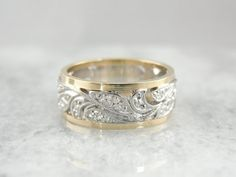 Wide Filigree Wedding Band from Mid 1900's Yellow by MSJewelers