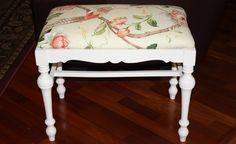 Vintage White Wooden Vanity Bench, Upholstered Vanity Stool, Bird Print Vanity Chair, Spindle Leg Piano Seat, Refurbished Wood Bench by DebiLynneVintage on Etsy