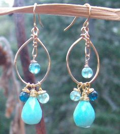Peruvian Blue Opals, Apatite, Kyanite Gemstones & 14k Gold Filled Hoops