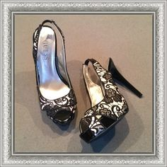 """GUESS black lace sling back pumps GUESS black and nude lace sling back pumps with peep tie. Patent leather heel and platform. One small knick shown in pic 3.   Heel 4.75"""". Platform 1.5"""". Size 6. Guess Shoes Heels"""