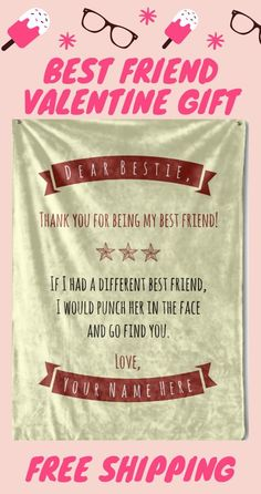 Put a big smile on your bestie's face with this funny personalized best friend blanket. Give this warm, silky, cozy, luxurious, ideal for snuggling personalized blanket as a gift for your bestie. Bestfriend Valentine Gifts, Valentines Day Gifts For Friends, Bestie Gifts, Gifts For Girls, Gifts For Family, Personalized Throw Blanket, Personalised Blankets, Besties, Best Friends