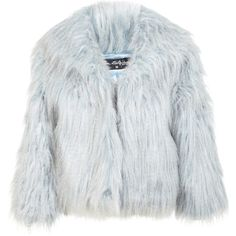 Miss Selfridge Blue Cropped Faux Fur Coat (133.930 COP) ❤ liked on Polyvore featuring outerwear, coats, jackets, fur, blue, cropped faux fur coat, blue coat, imitation fur coats, faux fur coat and blue faux fur coat
