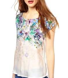 New Fashion Elegant Vintage Floral Shirt Printing Neck Short Sleeve Casual Tops Blouse