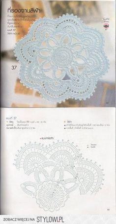 Stylowa kolekcja inspiracji z kategorii Hobby Crochet Doily Diagram, Crochet Rug Patterns, Crochet Mandala Pattern, Crochet Lace Edging, Crochet Circles, Filet Crochet, Irish Crochet, Crochet Flowers, Crochet Books